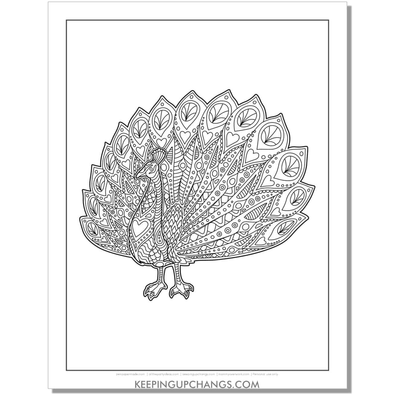 complicated peacock coloring page.