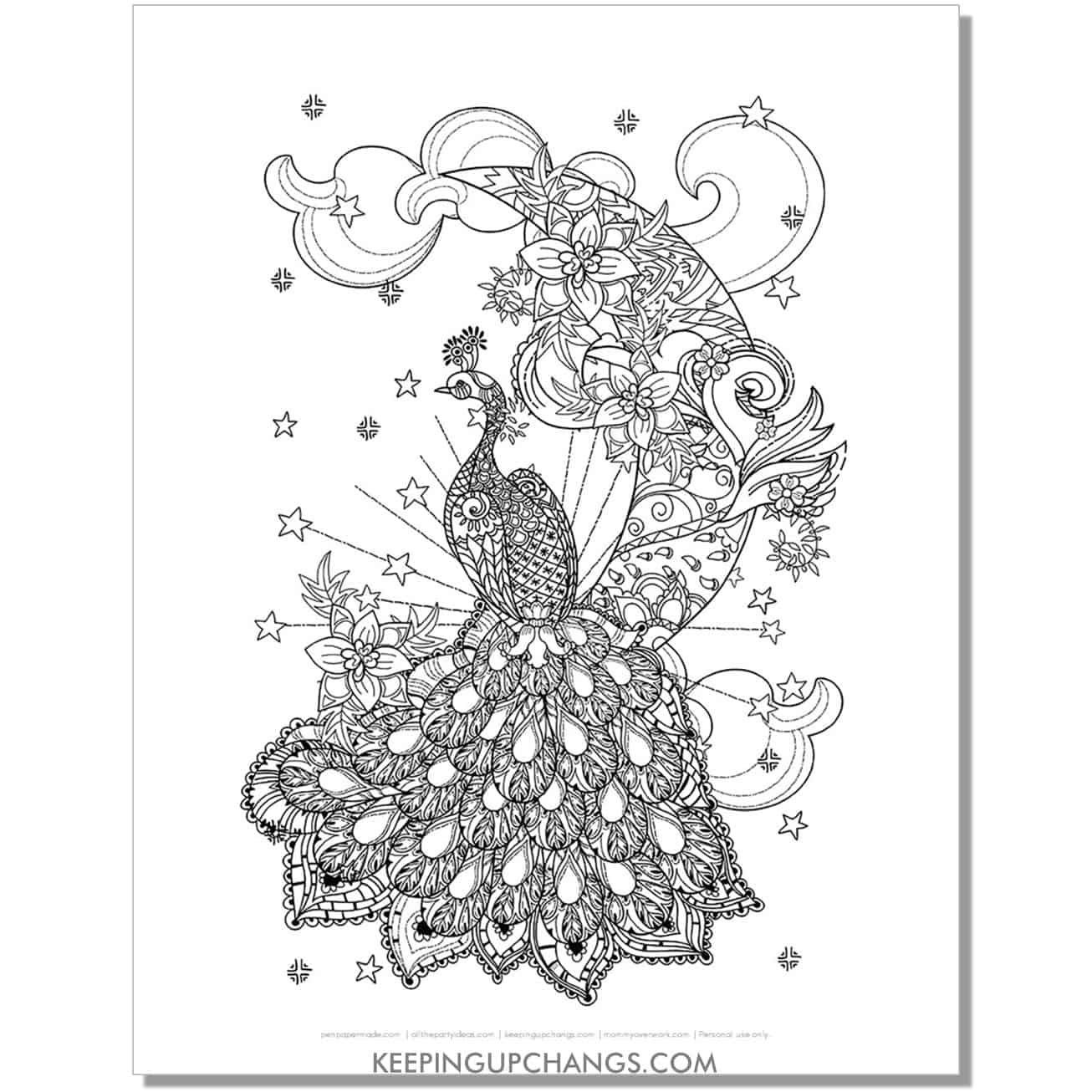 magical Christmas peacock coloring page.