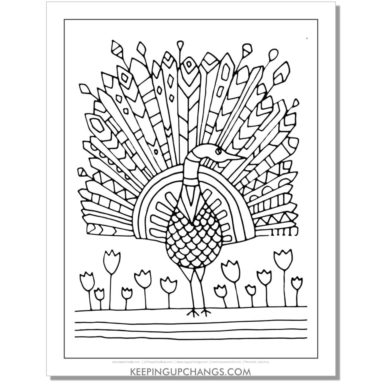 hand drawn doodle peacock coloring page.
