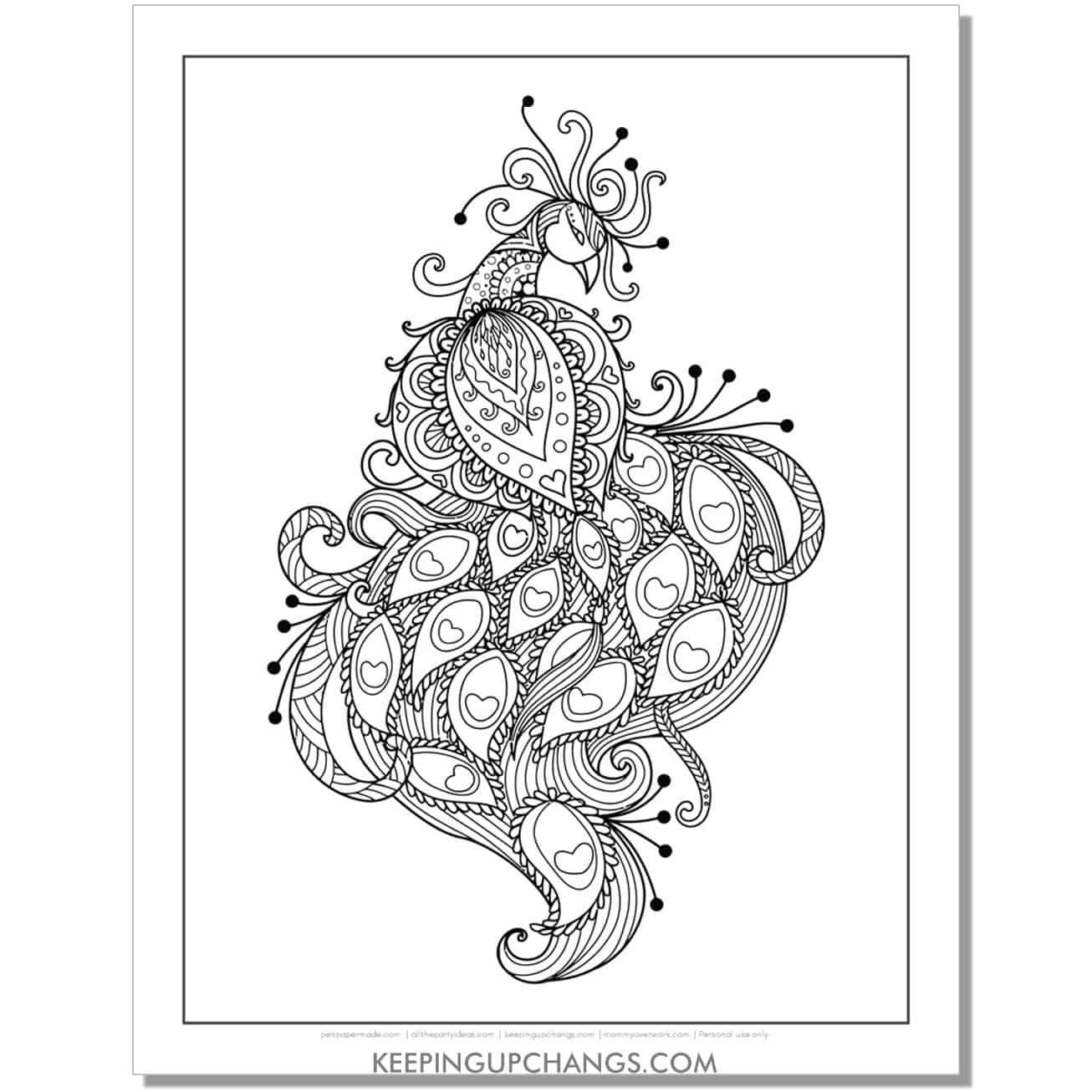 intricate peacock coloring page with hearts.