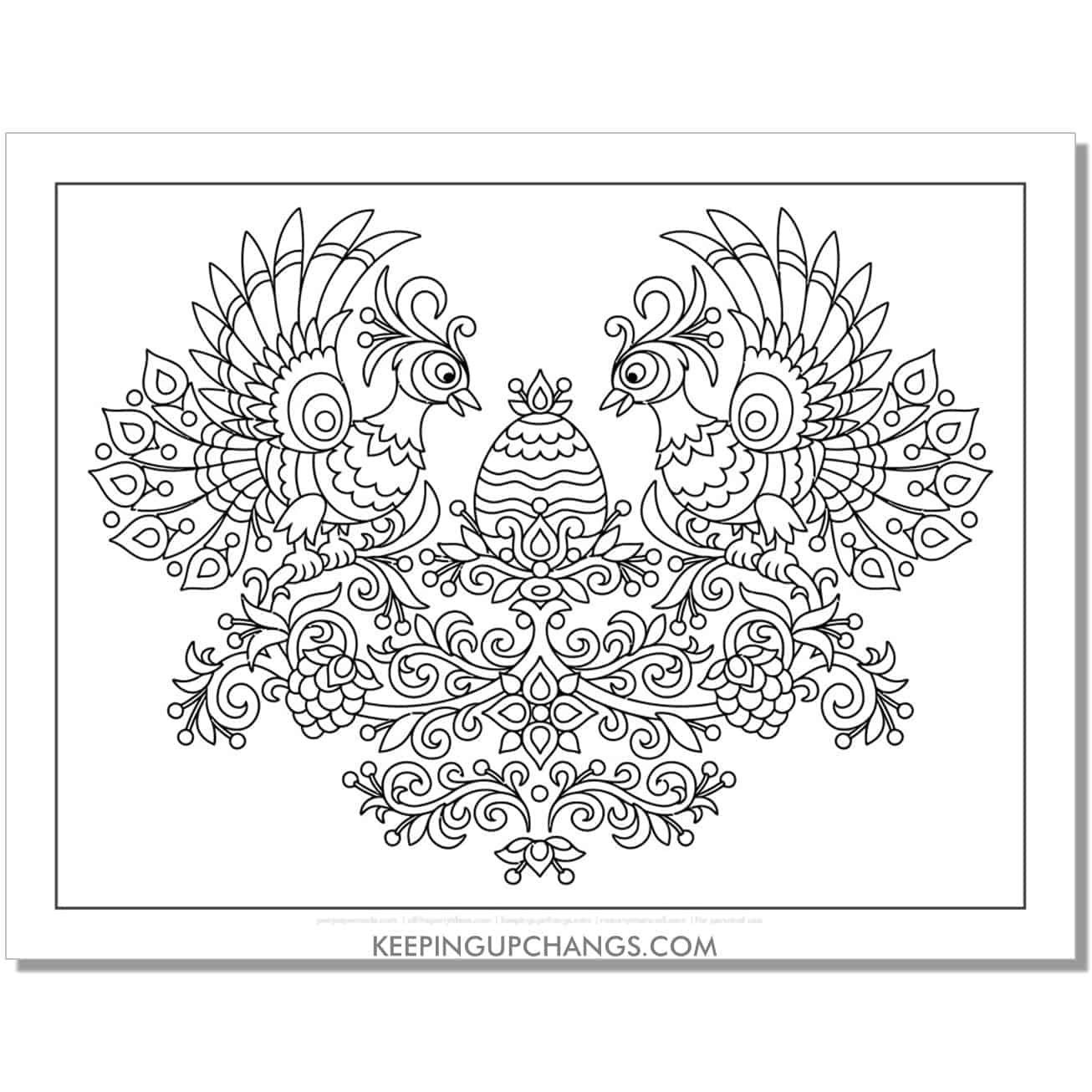 almost full size peacock coloring page for stress relief.