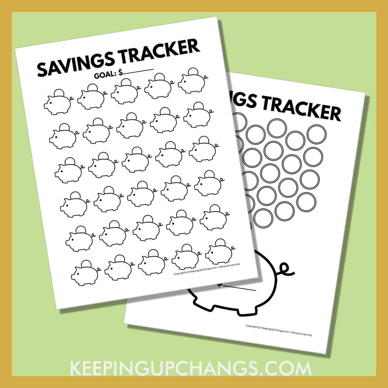 spread of free piggy bank saving tracker printables.
