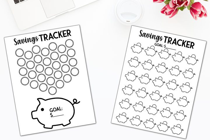 free piggy bank savings tracker printables to teach kids how to save money