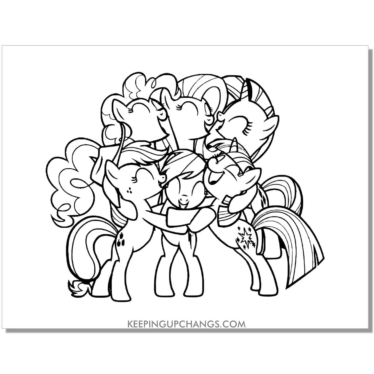 free my little pony hugging coloring page.