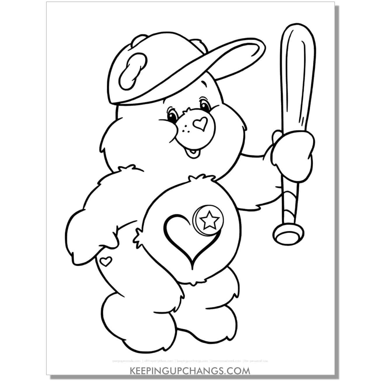 play a lot care bear playing baseball bat coloring page.