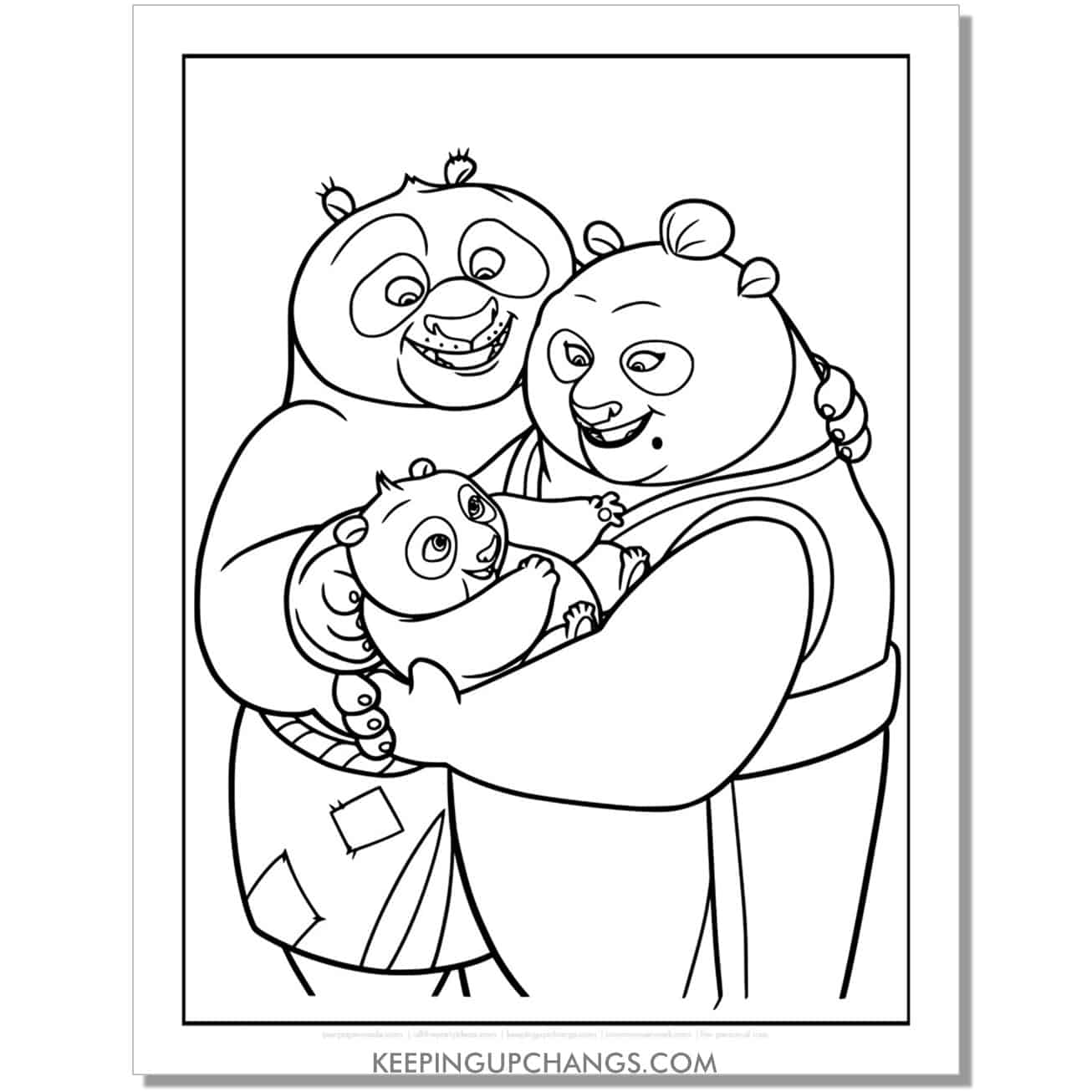 free baby po with parents kung fu panda coloring page.