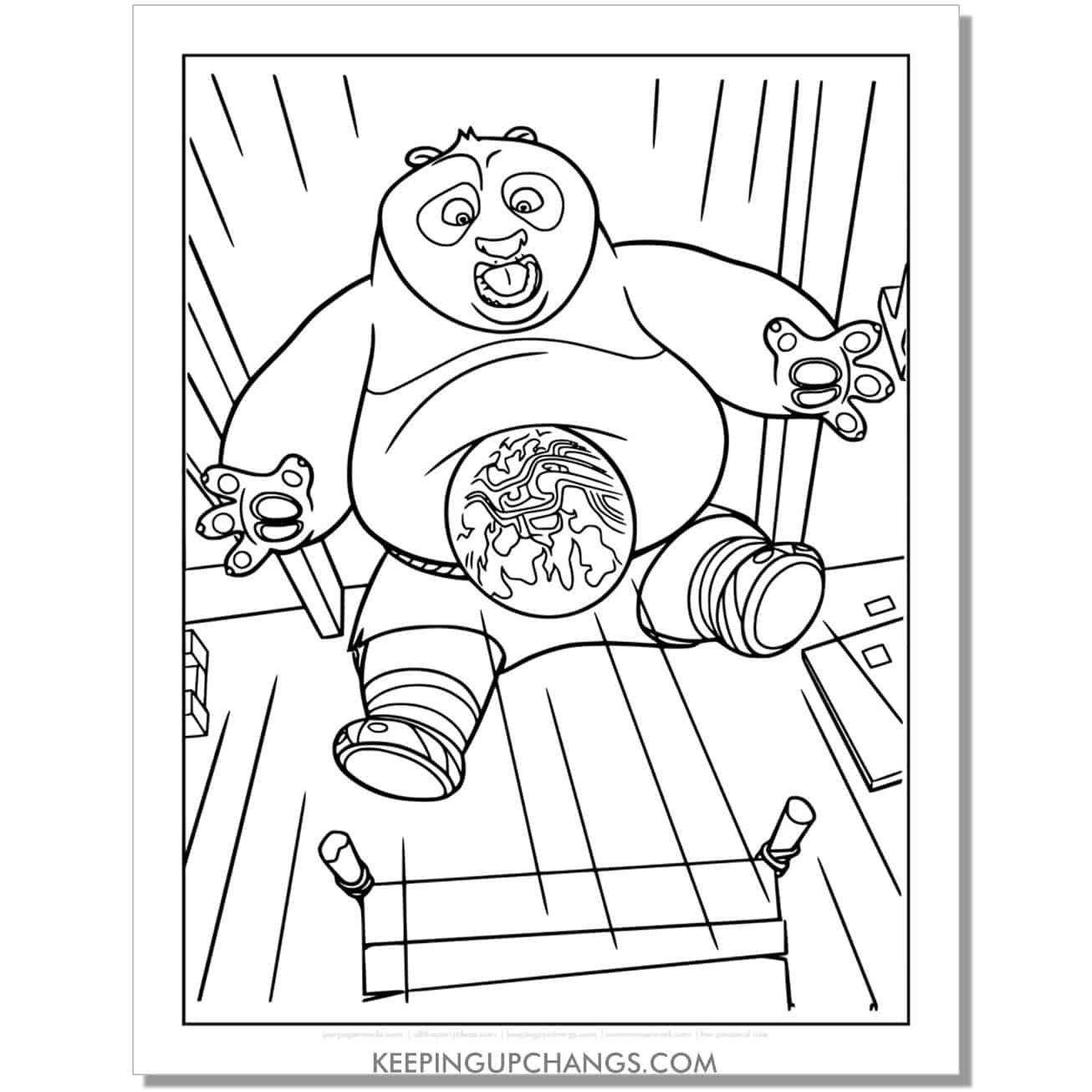 free po getting hit kung fu panda coloring page.