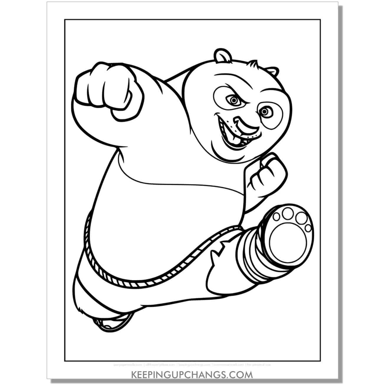 free po kung fu kick coloring page.