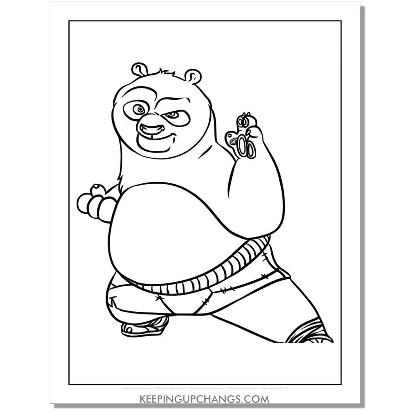 free po martial art stance coloring page.