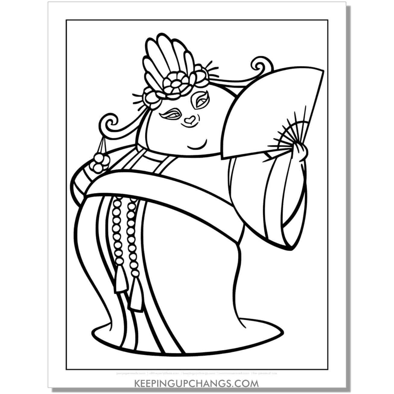free po dressed as woman coloring page.