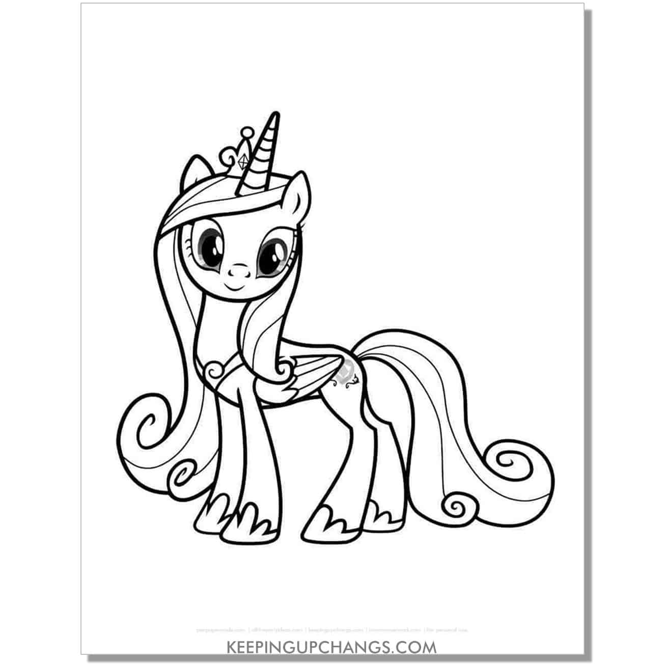 free princess cadence my little pony coloring page.
