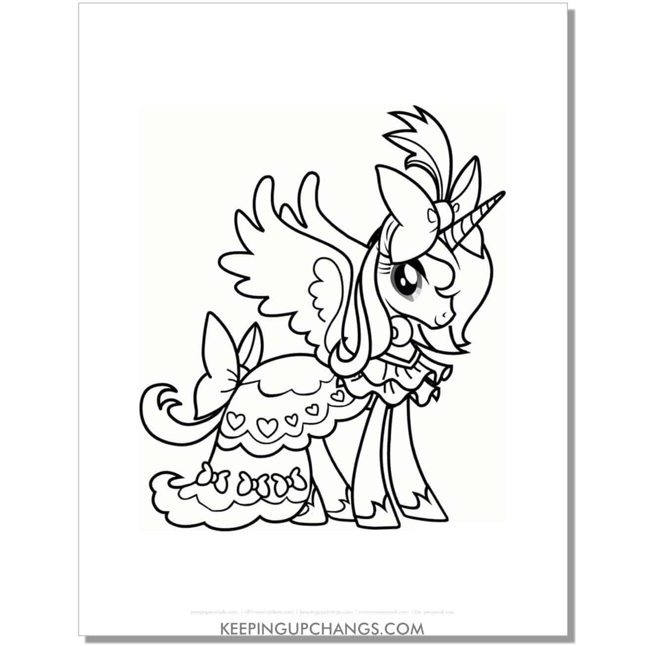 free fluttershy princess pegasus unicorn my little pony coloring page.