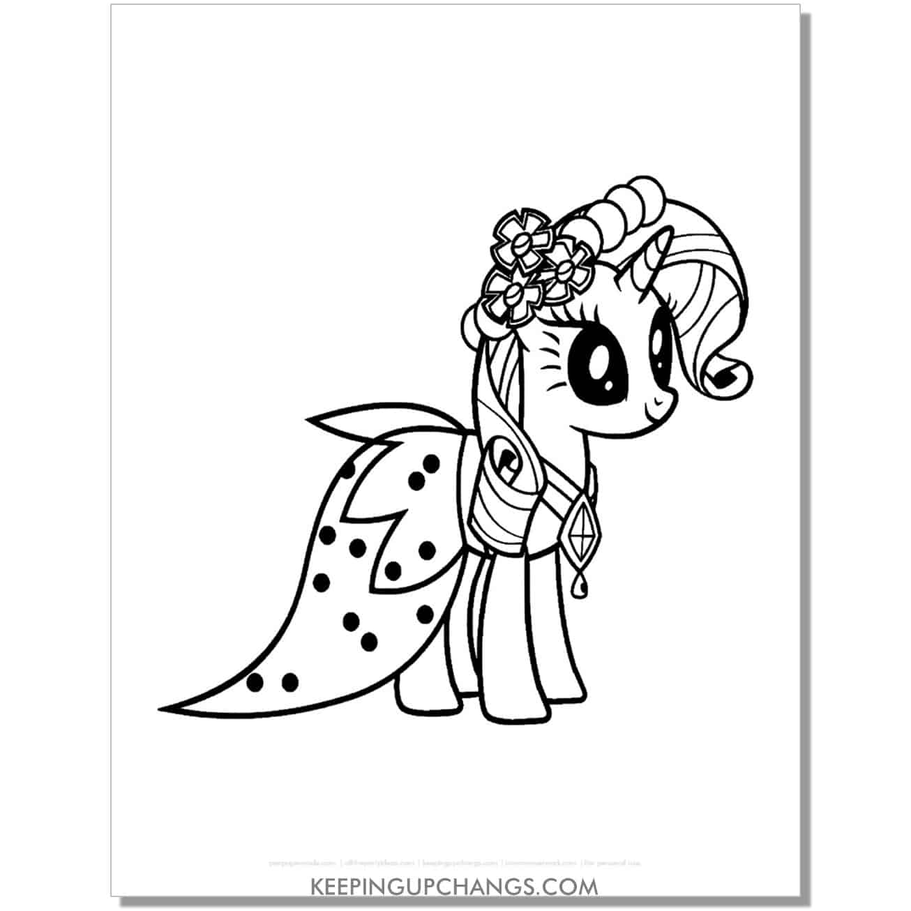 free rarity in a dress my little pony coloring page.