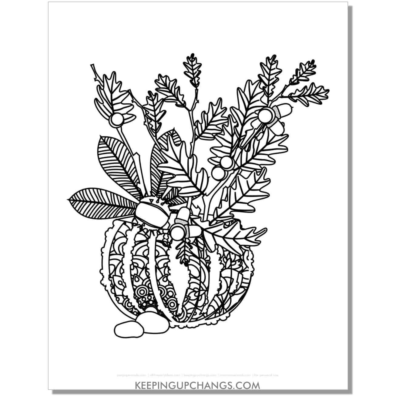 free zentangle thanksgiving pumpkin coloring page for adults with acorns, foliage.