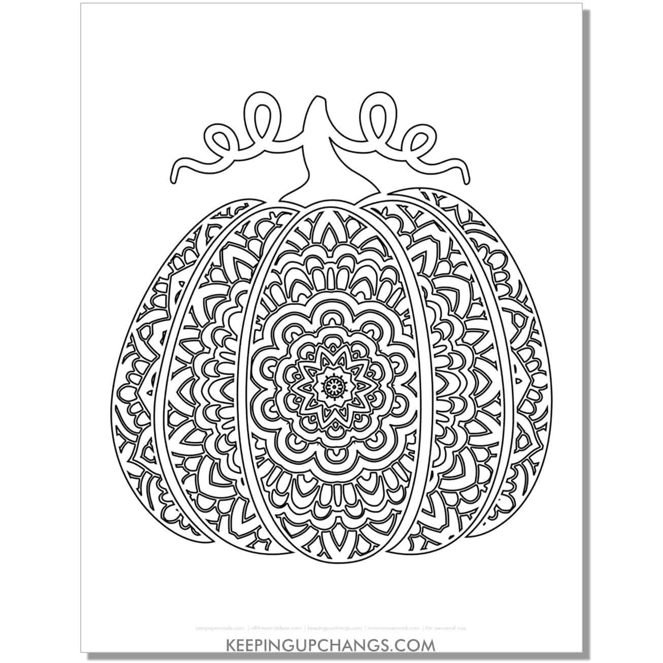 free mandala fall pumpkin coloring page for adults.