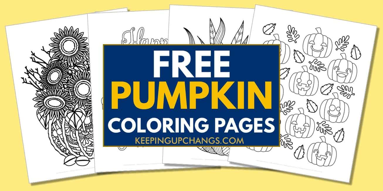 spread of free pumpkin coloring pages.