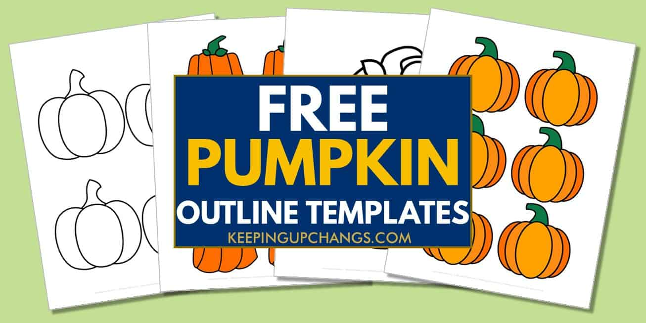 spread of free pumpkin outline for coloring, cut out templates, and tracing stencils.