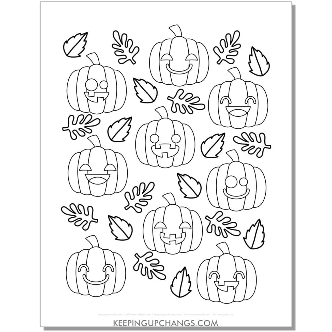 free cute pumpkin patch emoji coloring page for fall, halloween, thanksgiving.