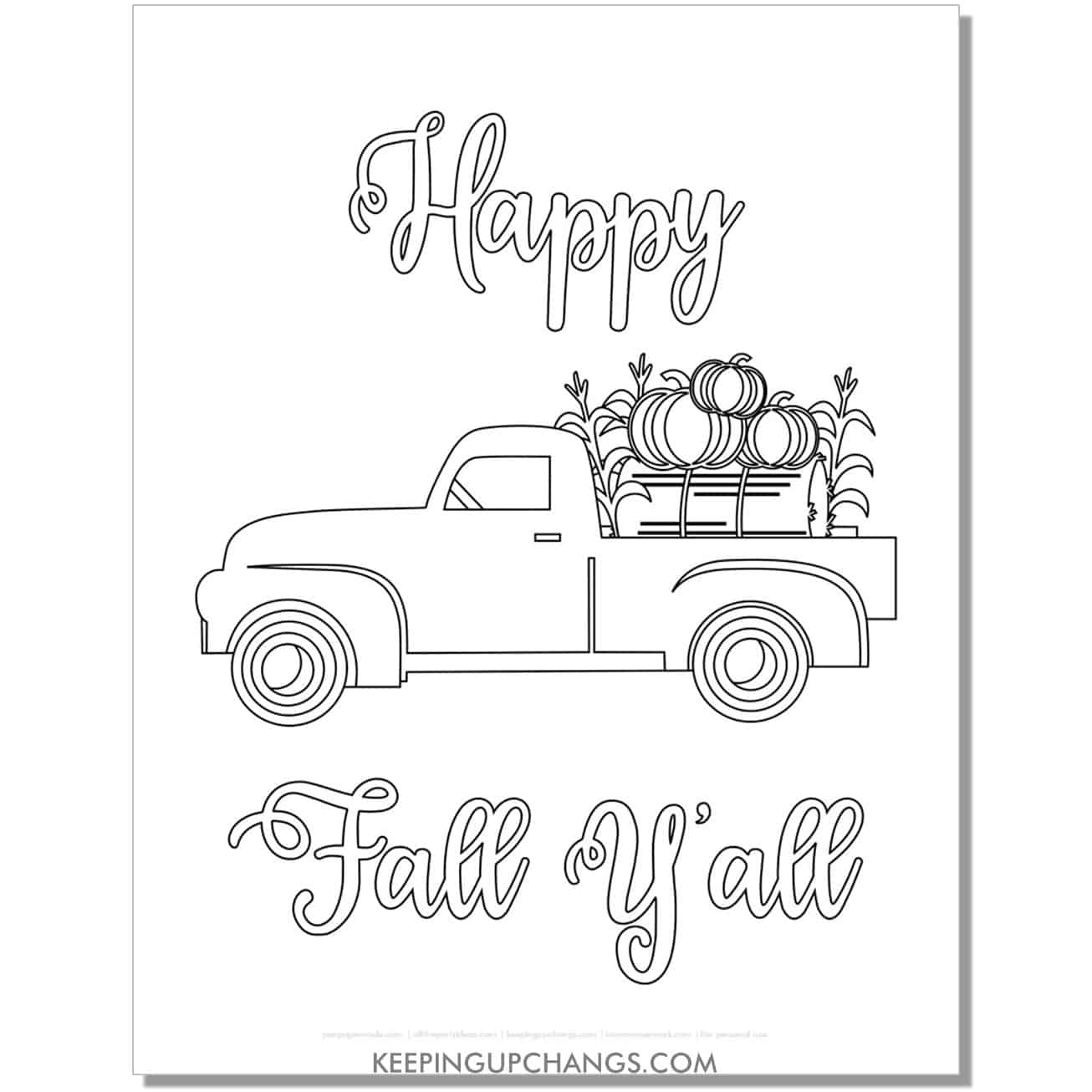 free happy fall yall vintage truck with pumpkins coloring page.