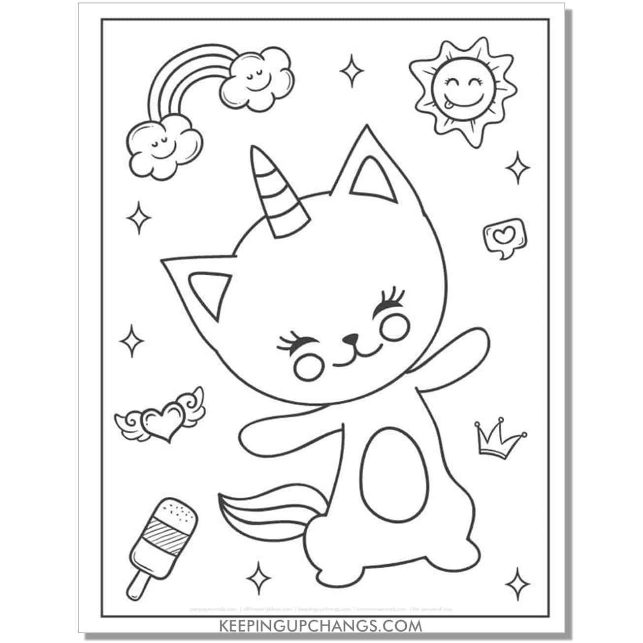 dancing cat unicorn with butterfly angel wing heart, ice cream and sun coloring page.