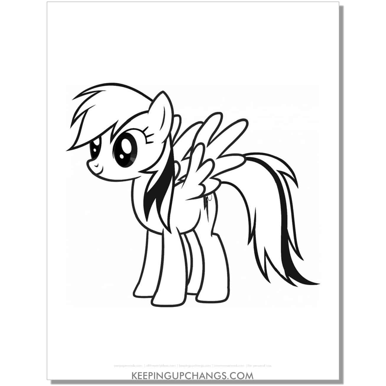 free side view rainbow dash my little pony coloring page.