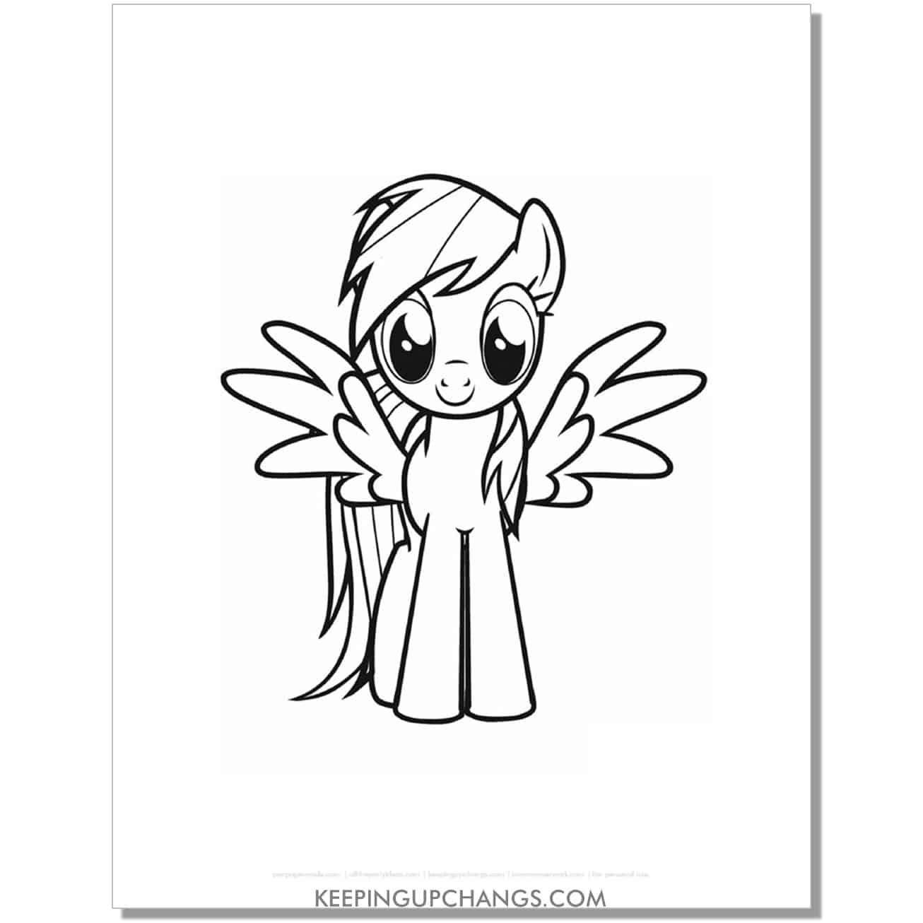 free front view rainbow dash my little pony coloring page.