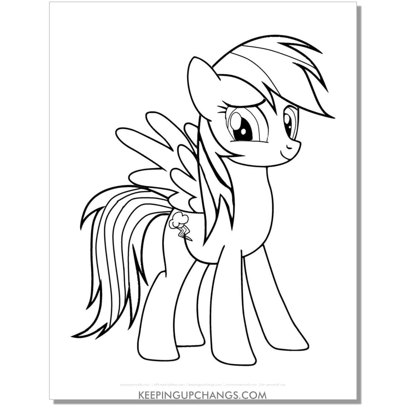 free lightning cloud cutie mark my little pony coloring page.