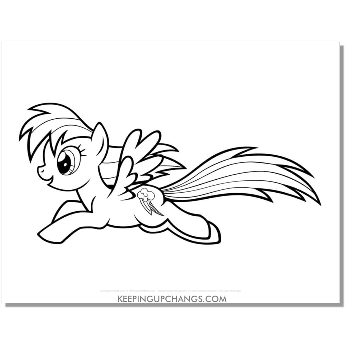 free cloud lightning cutie mark my little pony coloring page.