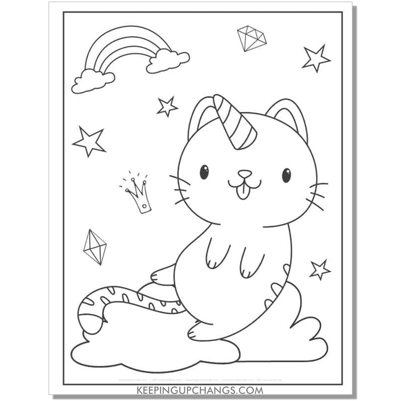 cat unicorn with tongue sticking out coloring page.