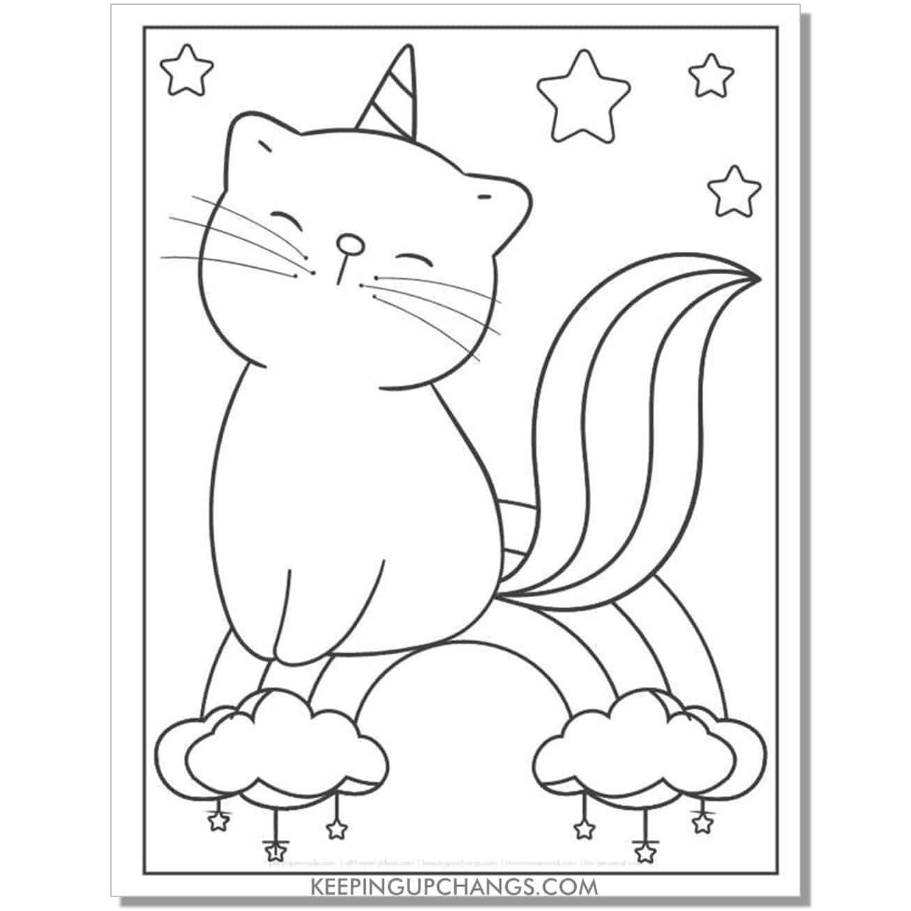 cat unicorn sitting on rainbow coloring page.