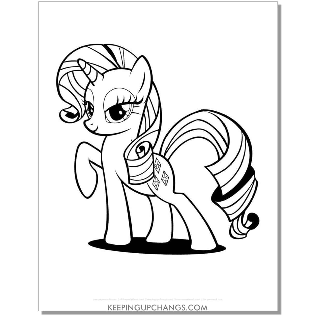 free diamond cutie mark my little pony coloring page.