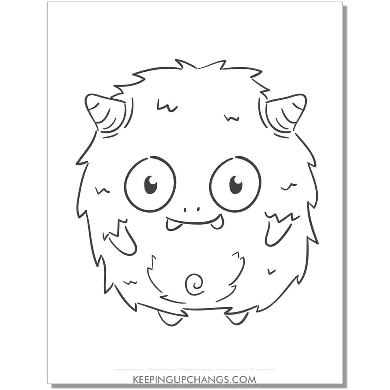 free friendly fuzzy monster coloring page.