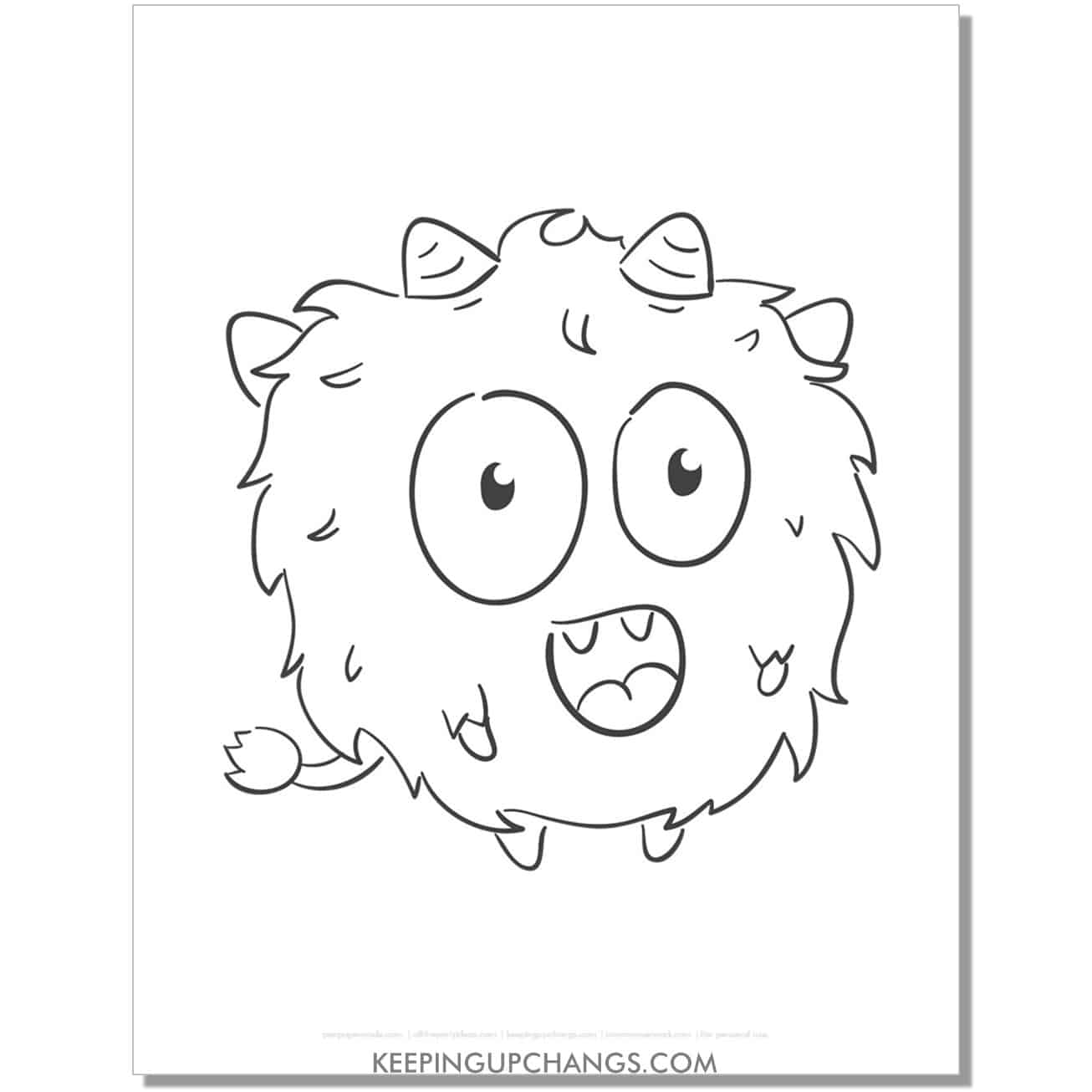 free round, fuzzy monster coloring page.