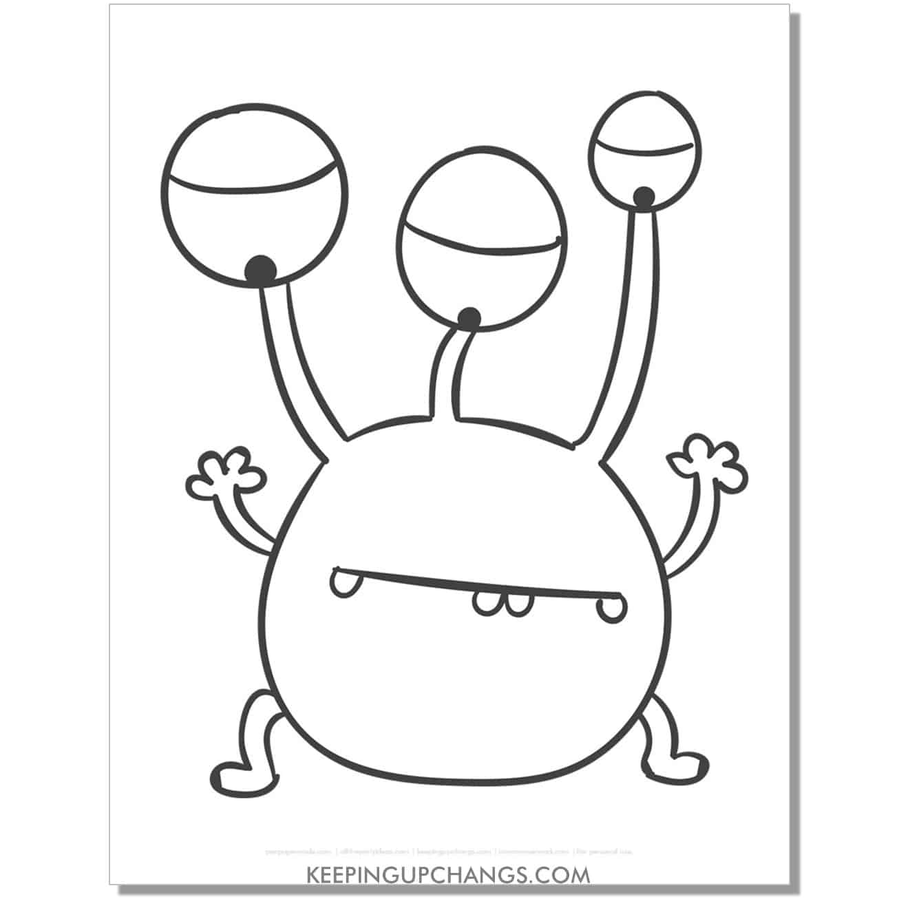 free three eyed simple monster coloring page.