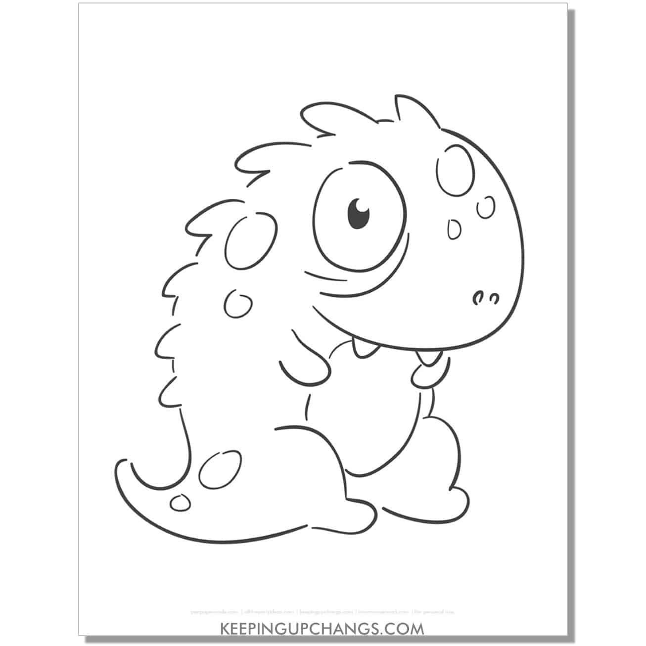 free baby monster coloring page.