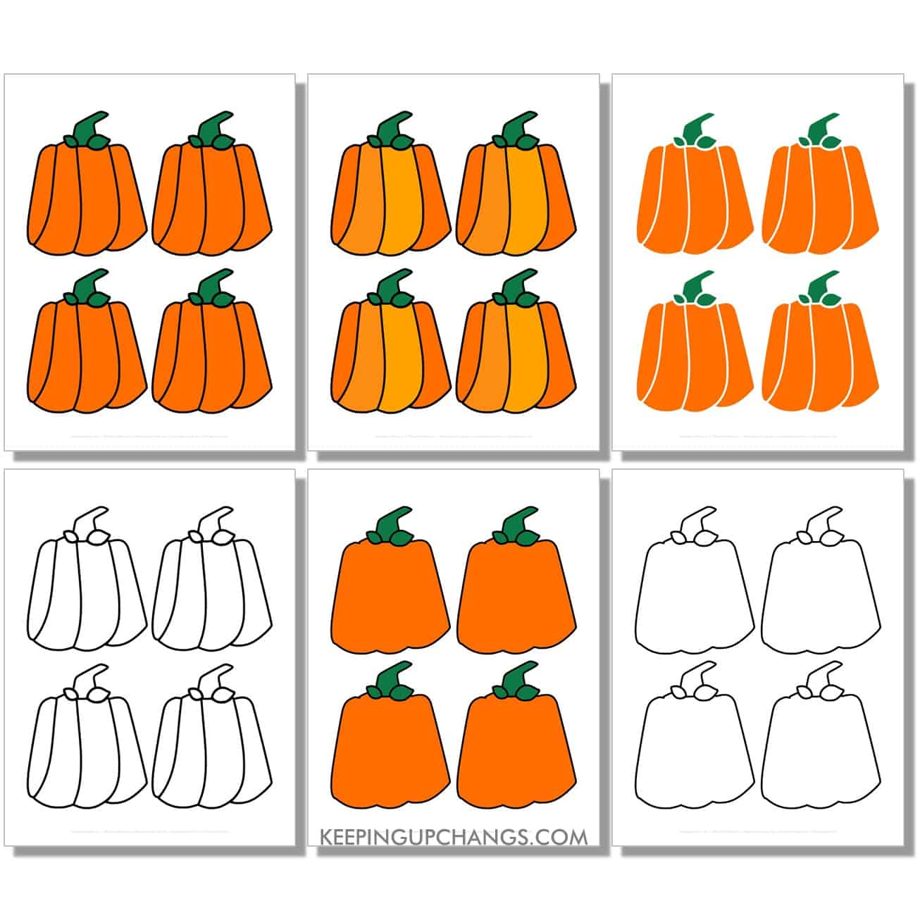 free small rectangle, square, box pumpkin in color, black and white, silhouette, 4 to a page.