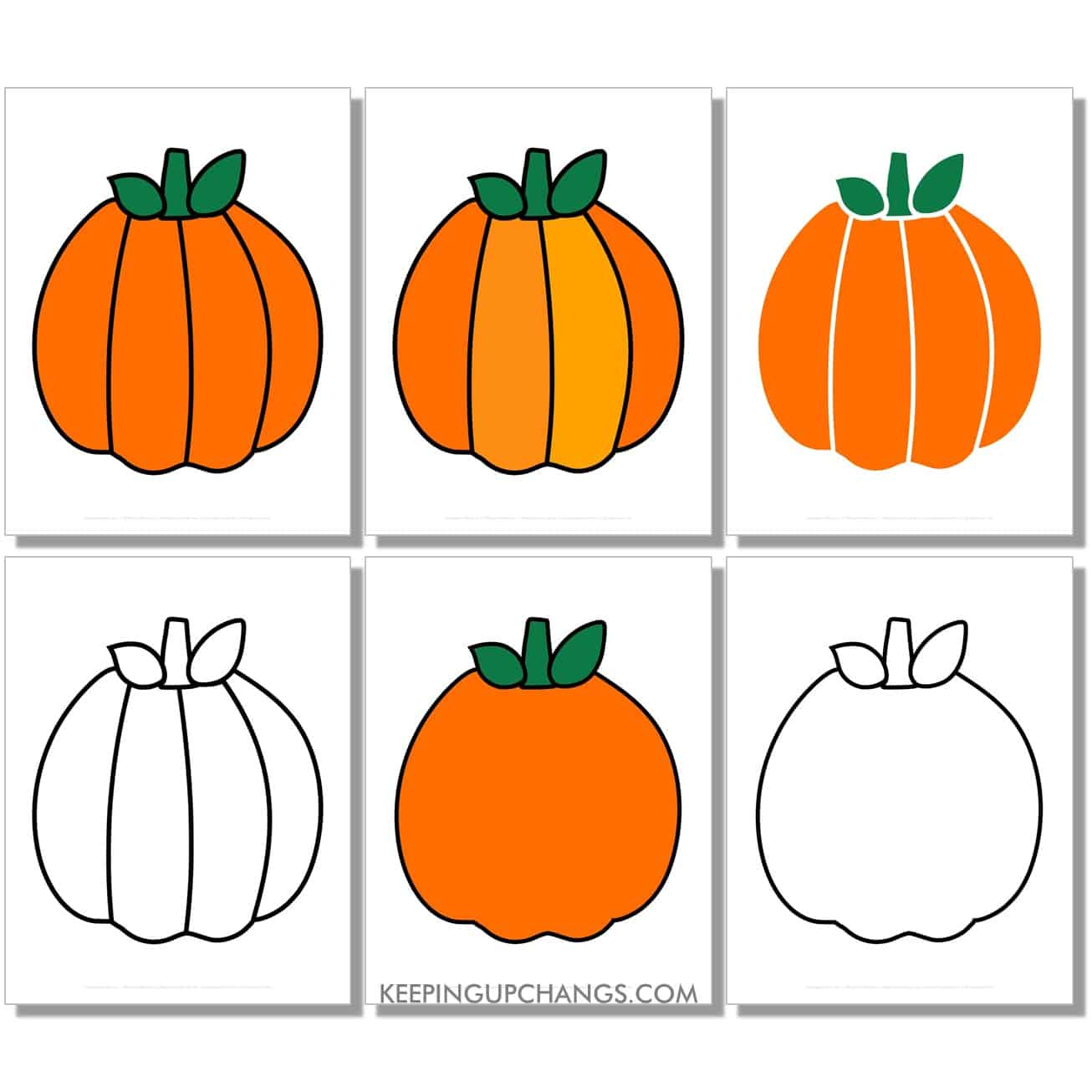 free large round pumpkin in color, black and white, silhouette, full size page.