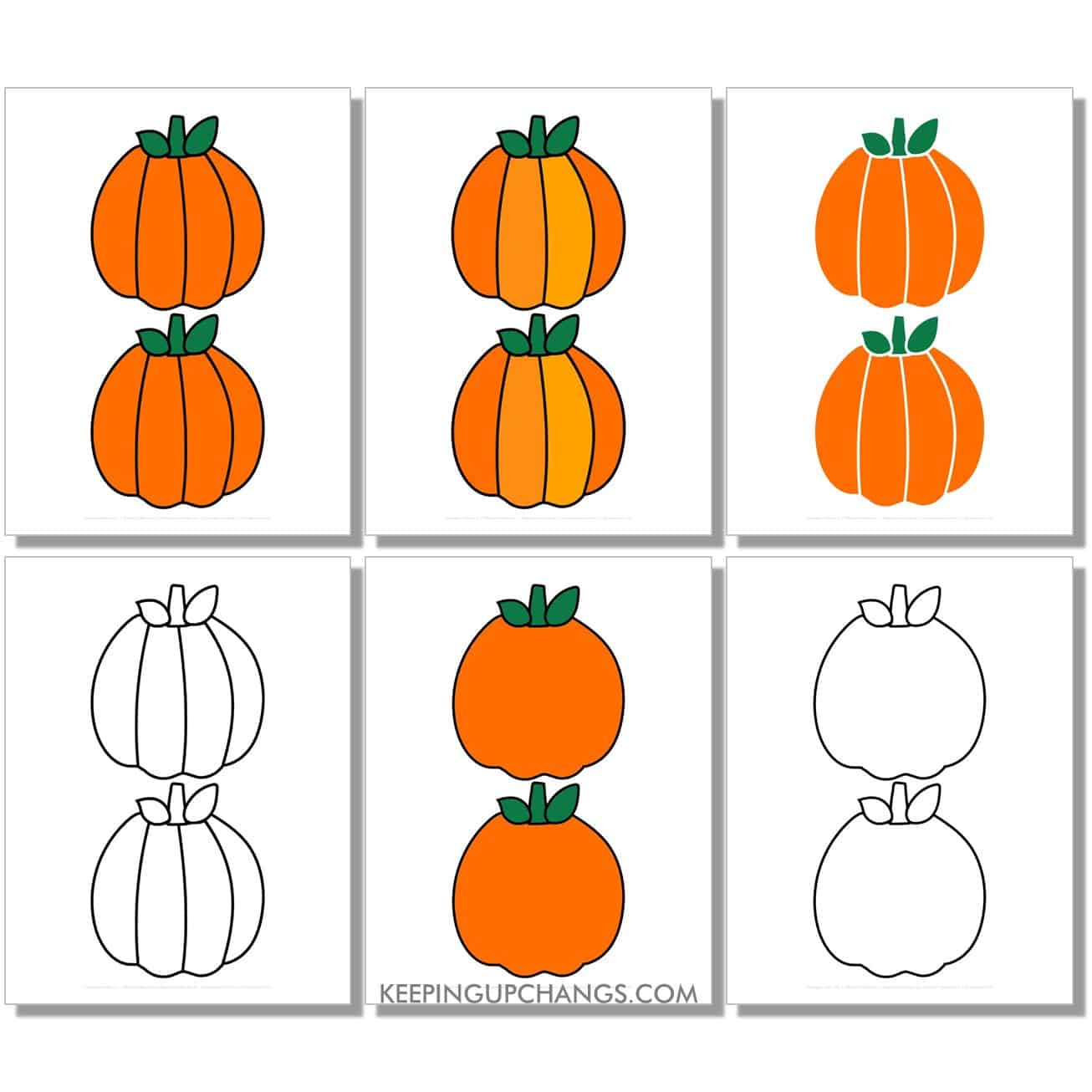 free medium round pumpkin in color, black and white, silhouette, 2 to a page.