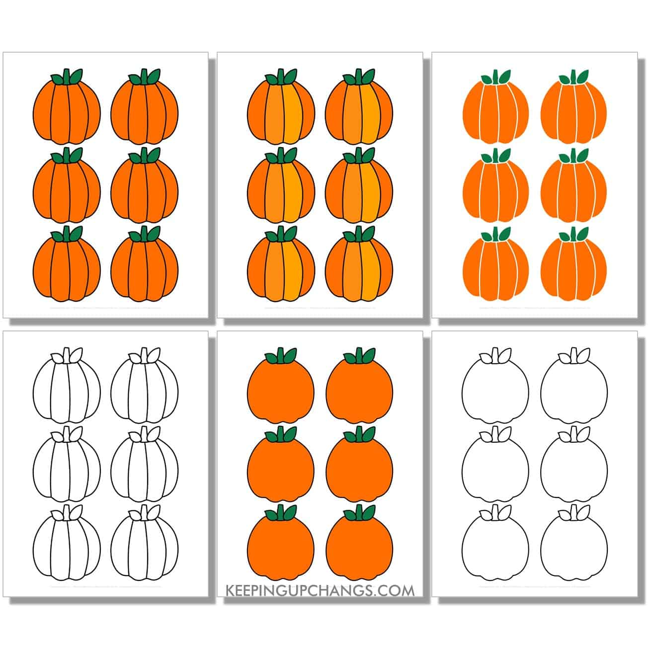 free mini round pumpkin in color, black and white, silhouette, 6 to a page.
