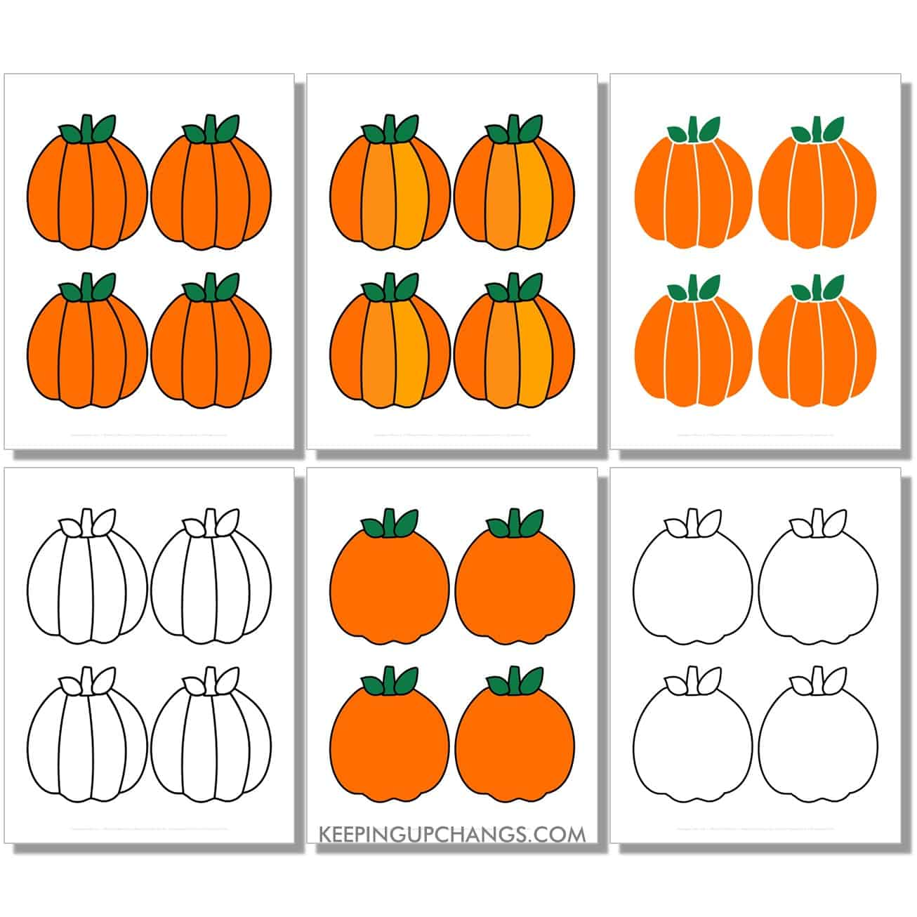 free small round pumpkin in color, black and white, silhouette, 4 to a page.