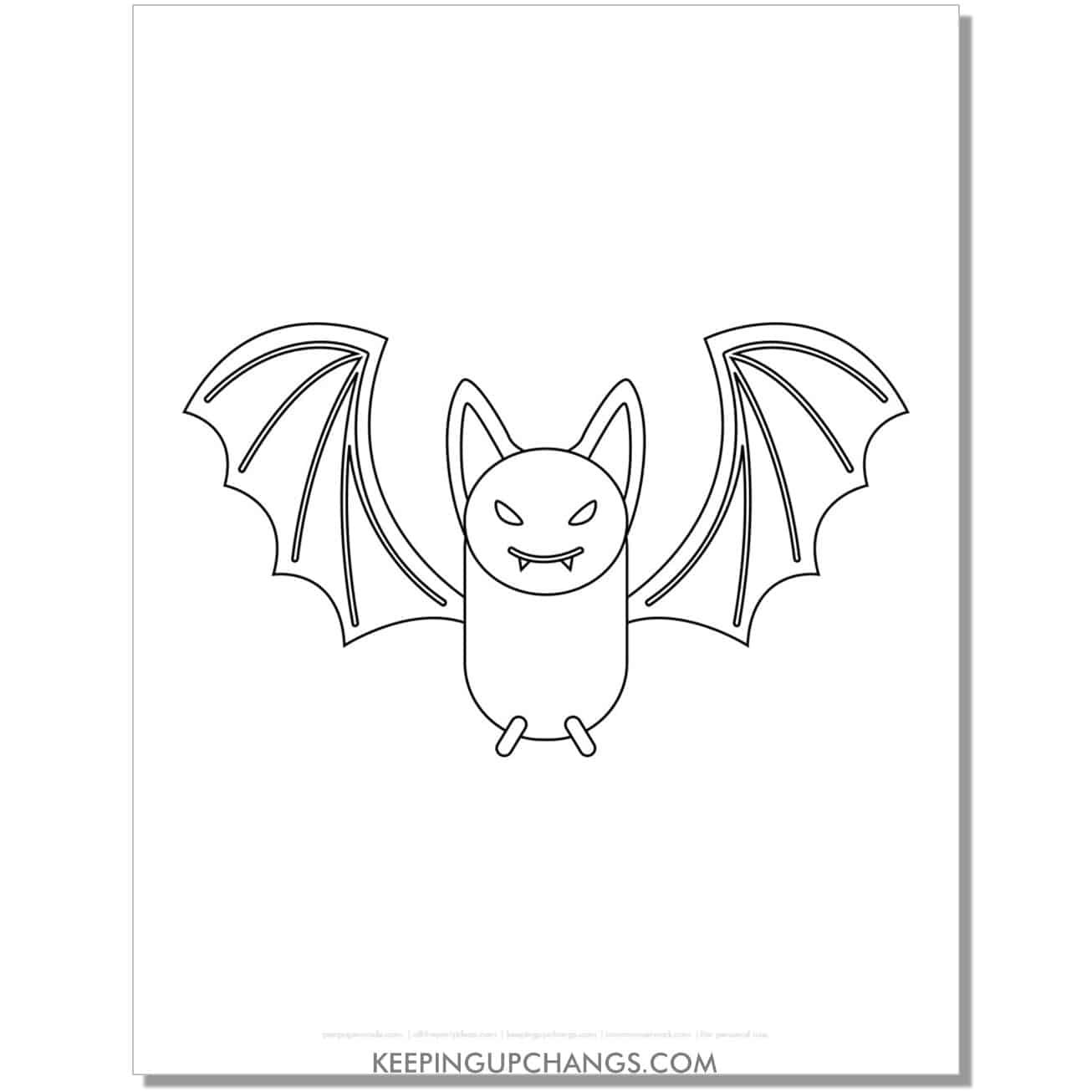 free spooky bat outline coloring page.