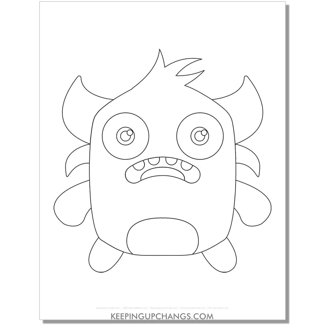 free short monster with horns coloring page.