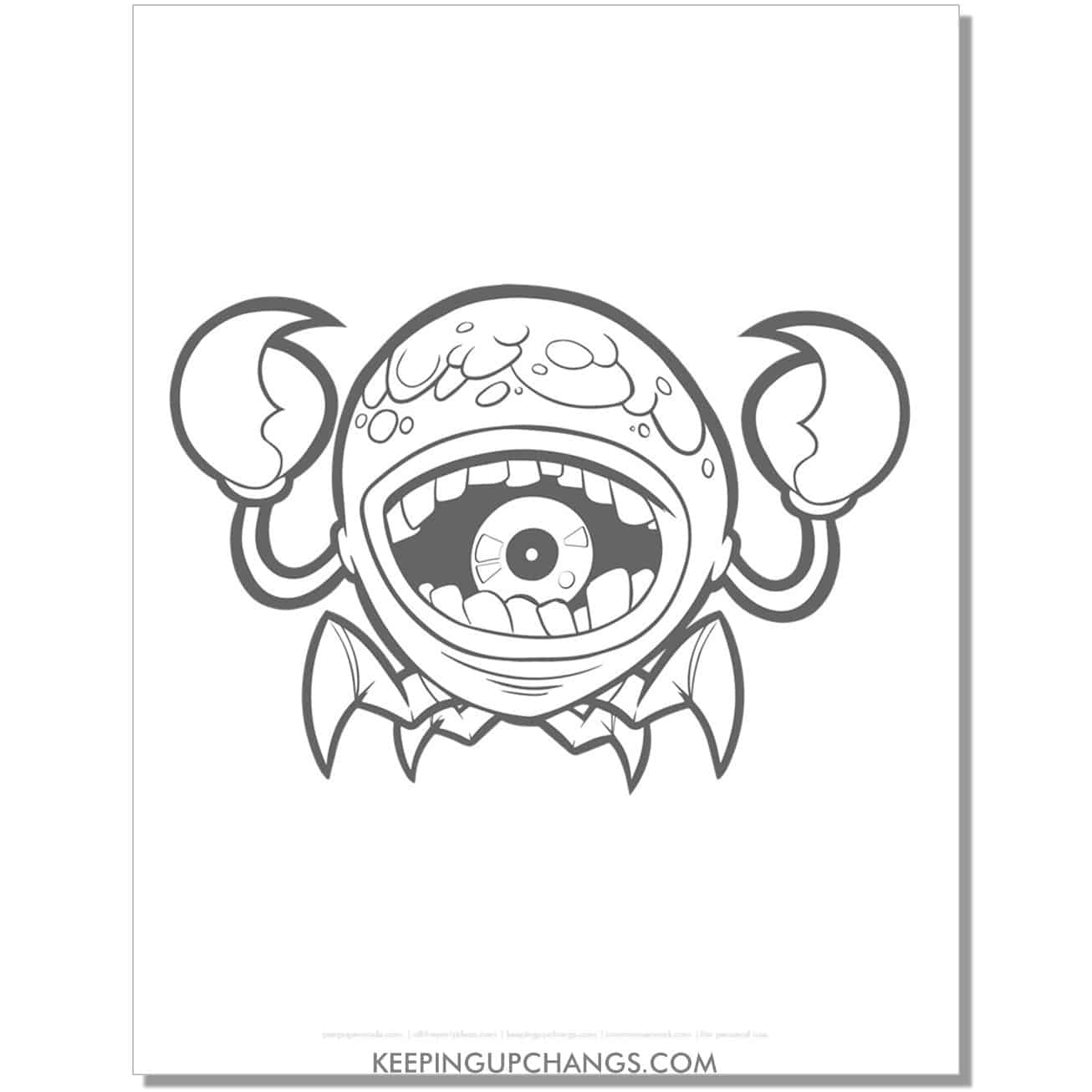 free one eyed crab monster coloring page.