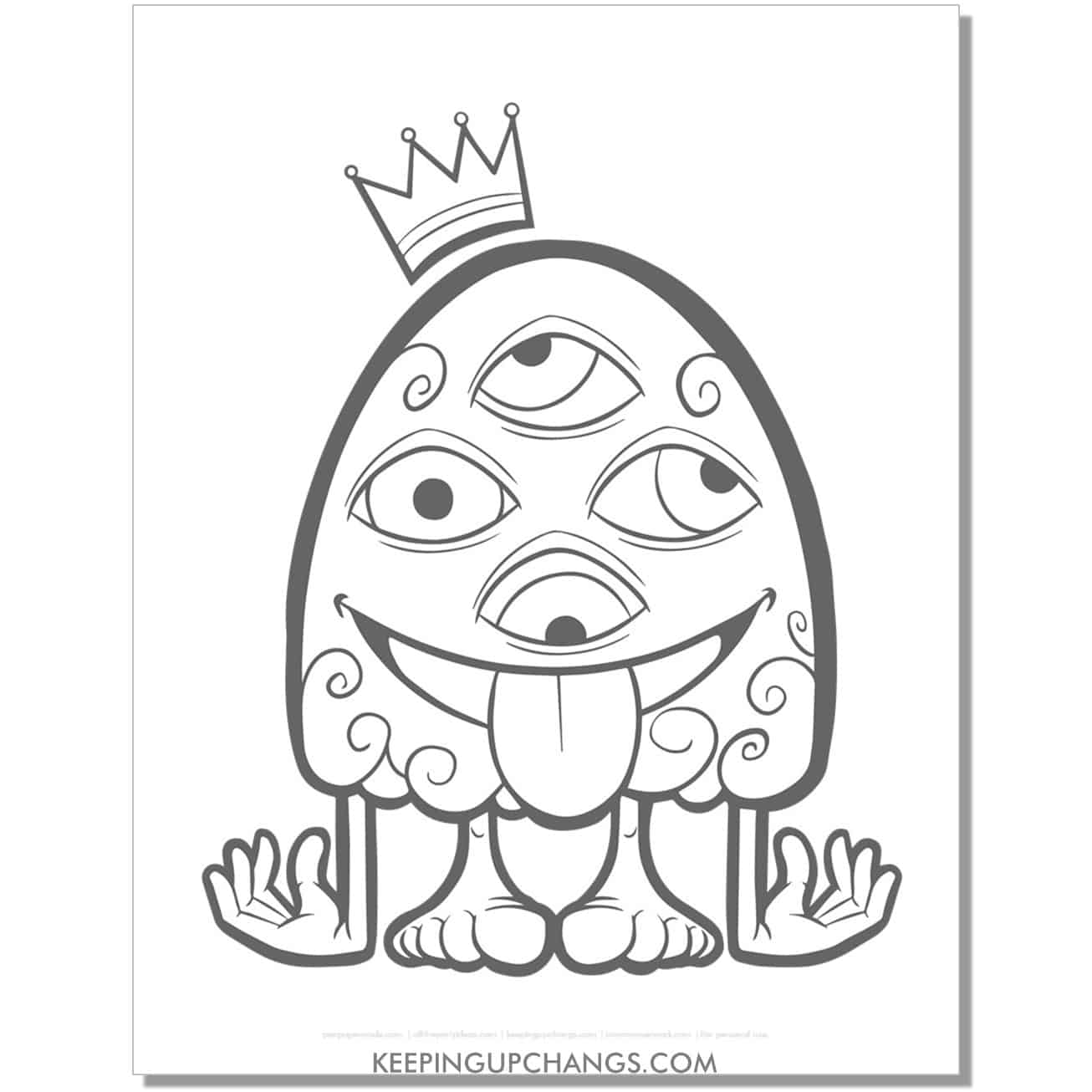 free silly four eye monster coloring page.