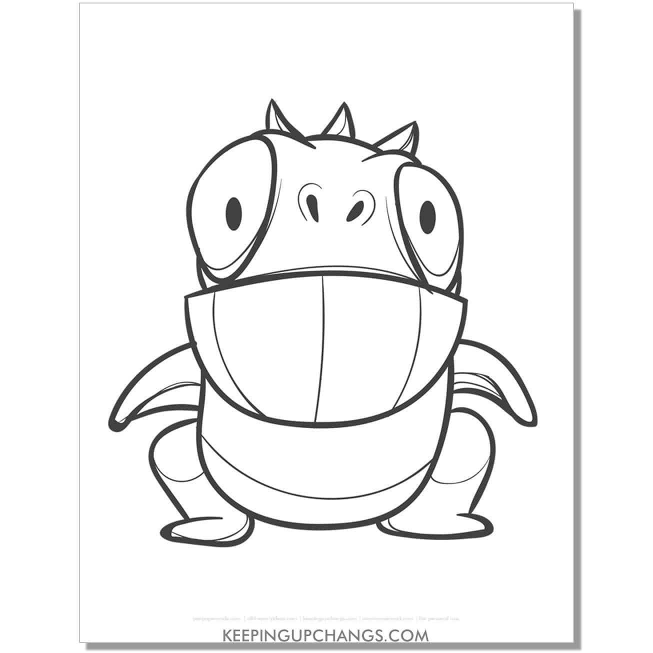 free frog monster coloring page.