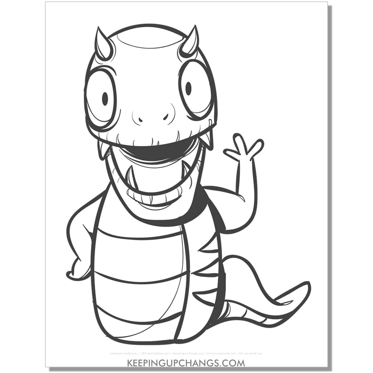 free snake reptile monster coloring page.