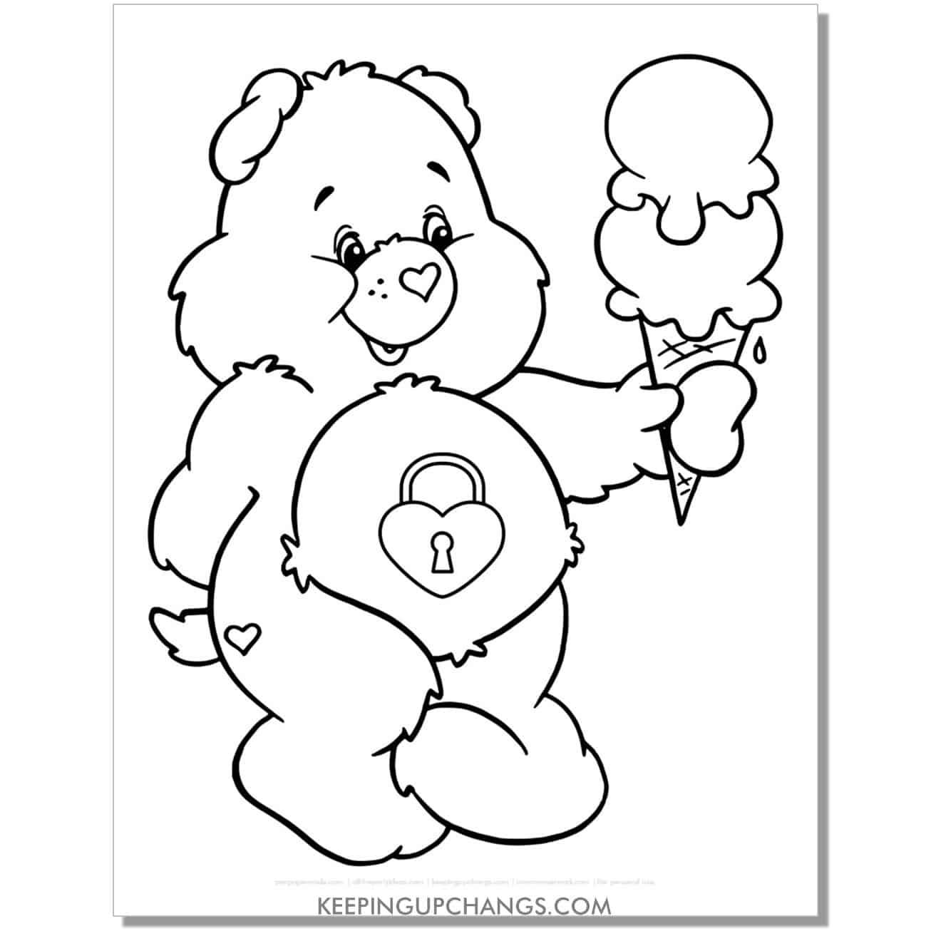 secret care bear eating ice cream coloring page.