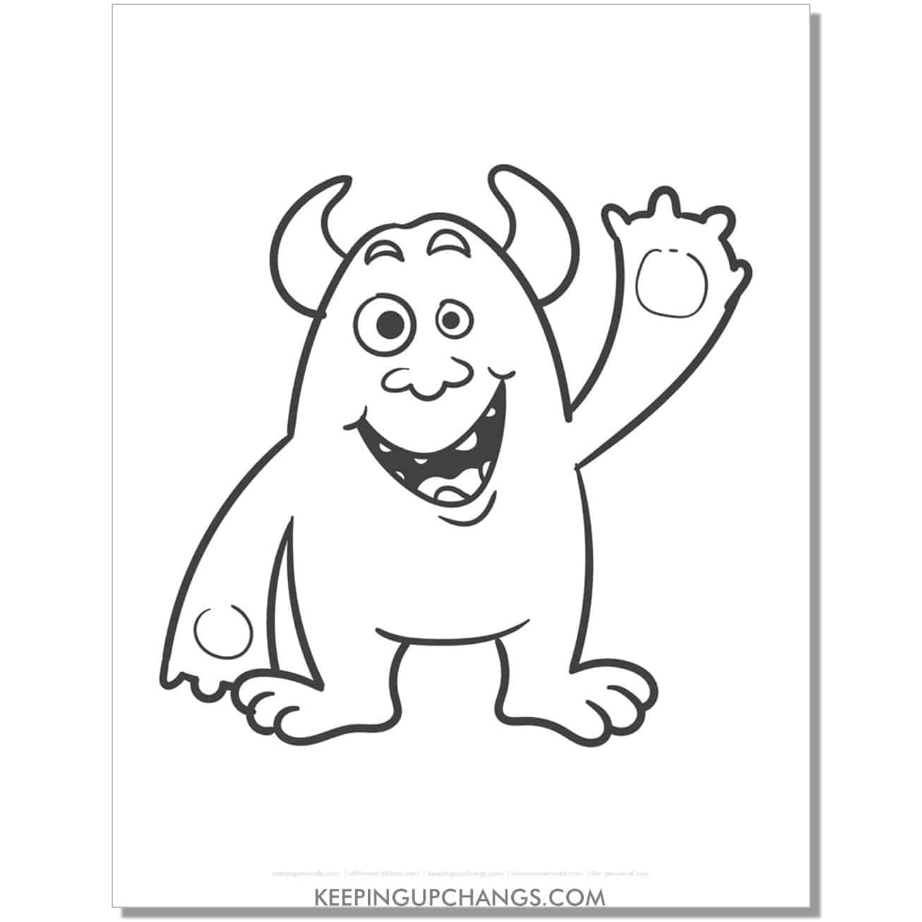 free friendly, waving monster with horns coloring page.