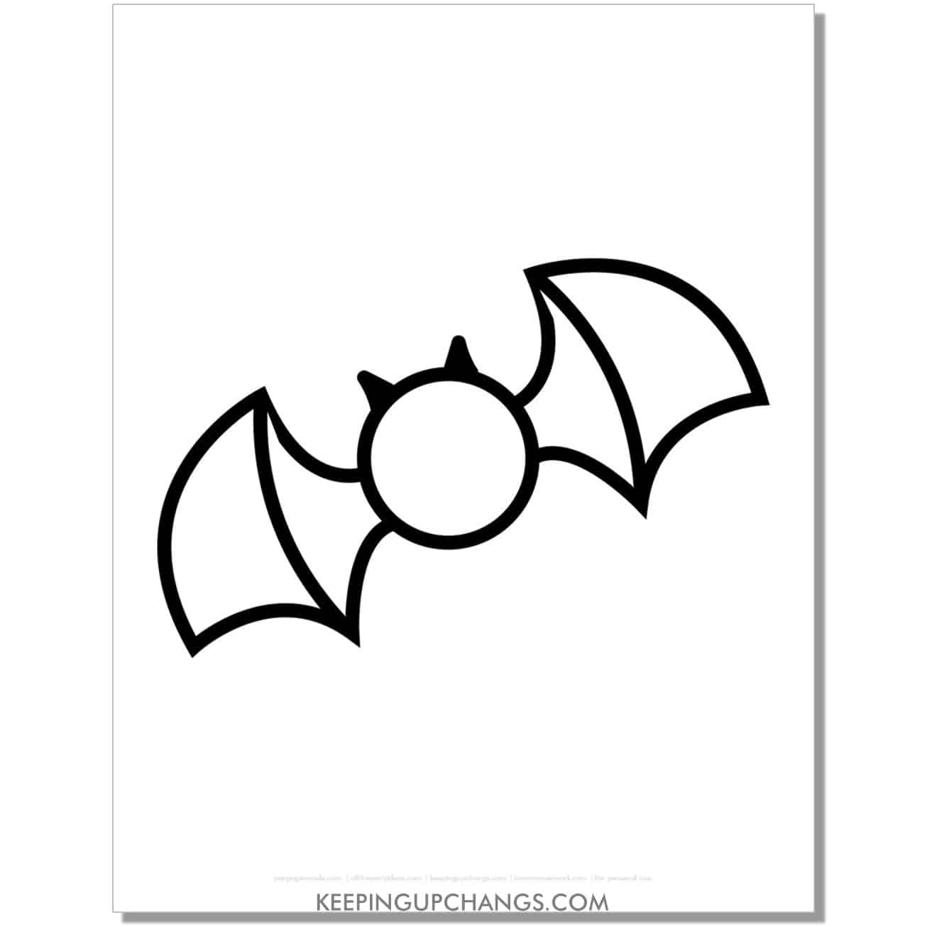 free easy, simple bat outline halloween coloring page for toddlers.