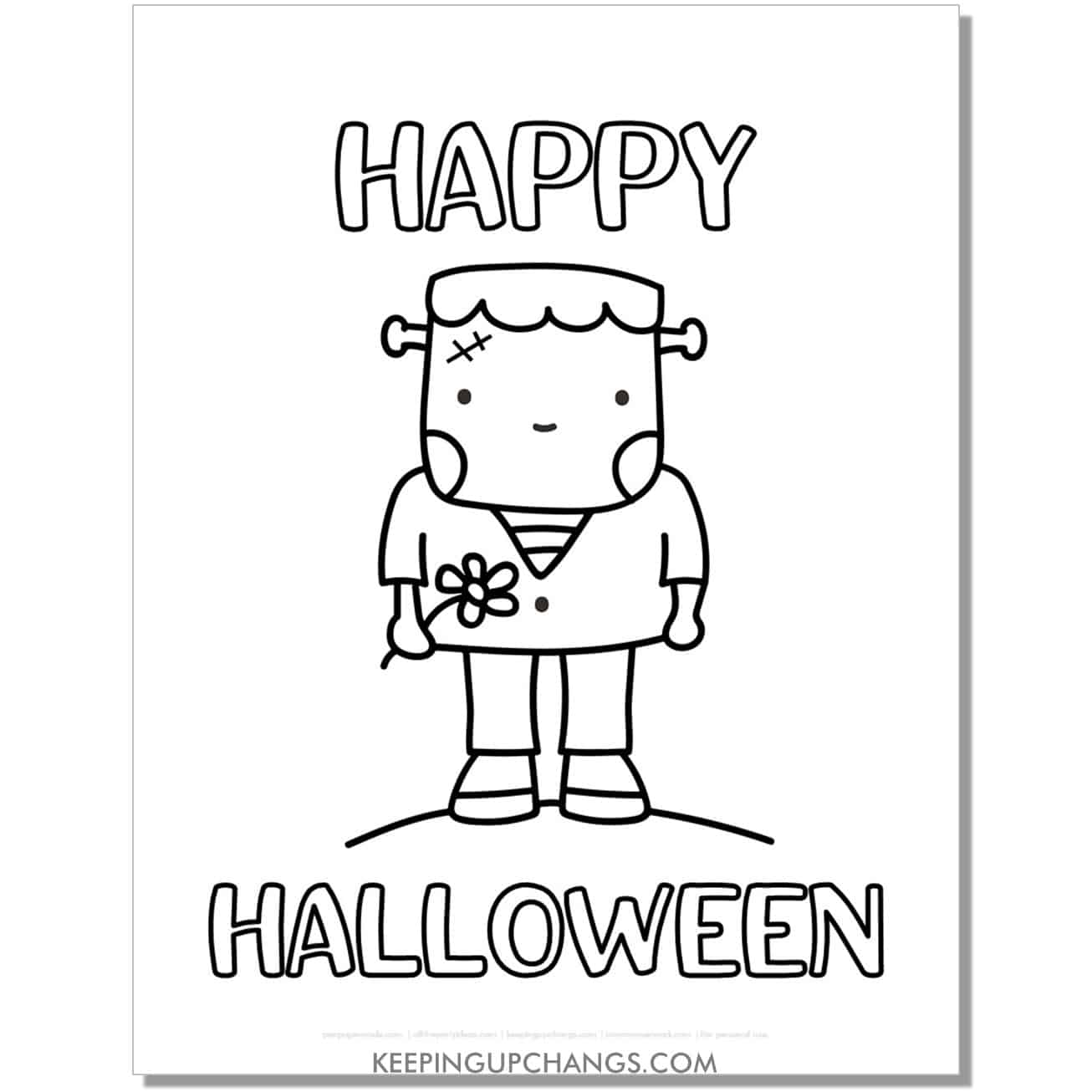 free happy halloween cute frankenstein coloring page.